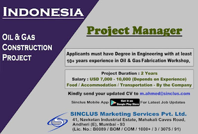 Project manager Gulf jobs walkins for Indonesia text image