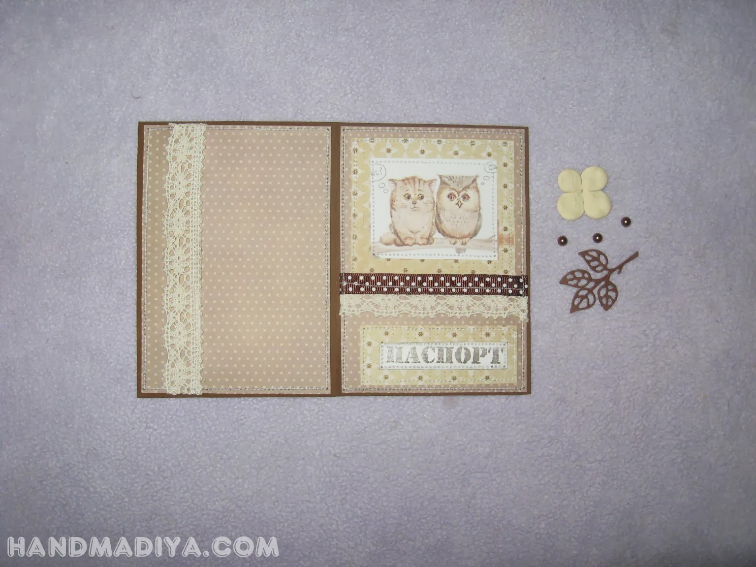 Обложка для паспорта, мастер класс. Passport cover scrapbooking. DIY step-by-step tutorials
