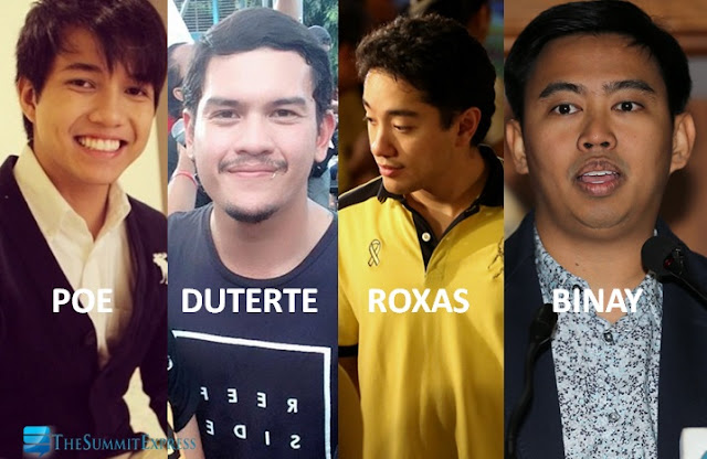 prospective presidential sons Poe, Duterte, Roxas and Binay