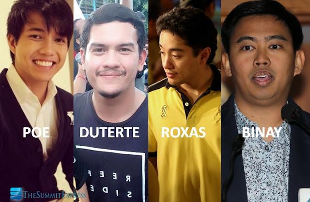 prospective presidential sons Poe, Duterte, Roxas and Binay
