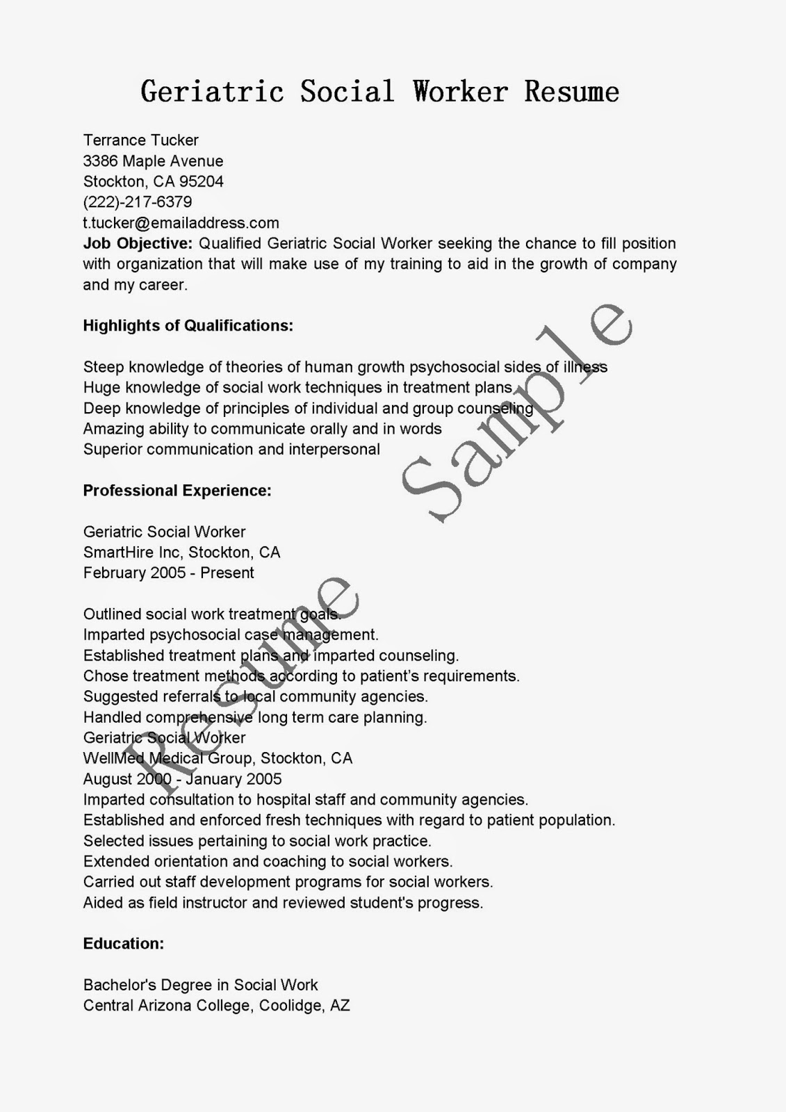 sample geriatric social worker resume