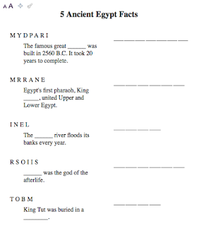 Egypt Word Unscramble worksheet