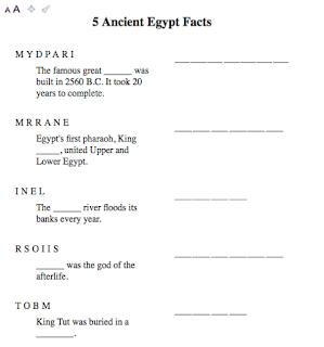 Egypt Word Unscramble worksheet