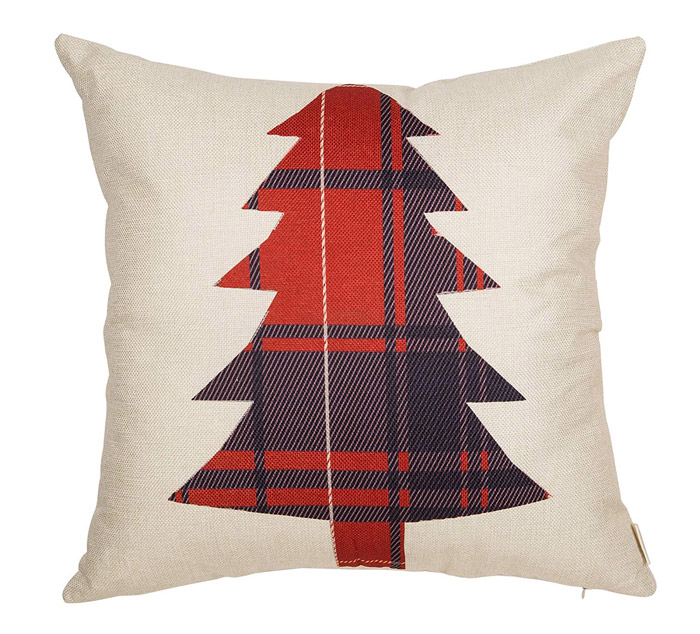 Plaid Christmas Tree Pillow