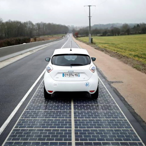 Tinuku Coral inaugurated asphalt solar panels Wattway in Normandy, France, as a space-saving power plant