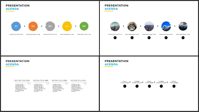 Table of Contents for Free PowerPoint Template using Brush Effects and Minimalism Design