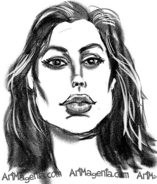 Angelina Jolie caricature cartoon. Portrait drawing by caricaturist Artmagenta
