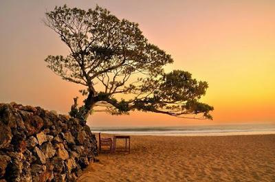 foto senja sunset di pantai pok tunggal jogja