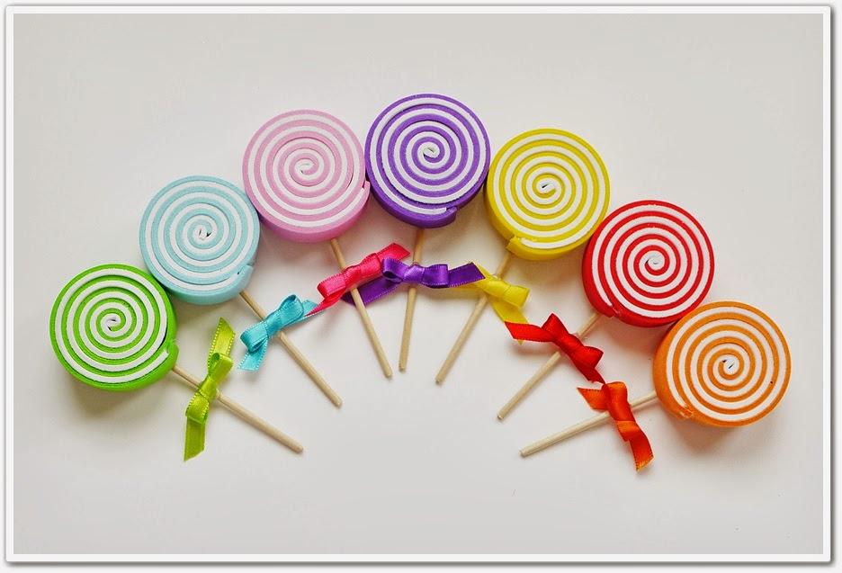 fe099594206 El taller mágico  Piruletas de goma eva