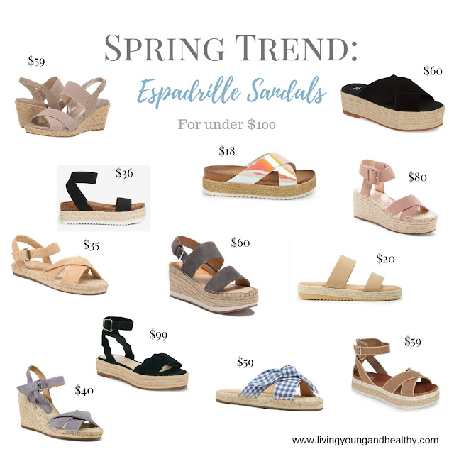 You don't have to break the bank to incorporate the hottest spring trends into your wardrobe.  These affordable espadrille sandals for under $100 are budget-friendly, cute and stylish.