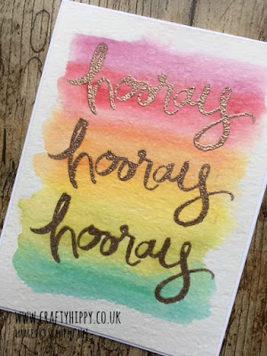 How to make this gorgeous rainbow card using Aqua Painters and Watercolor Words from Stampin' Up!
