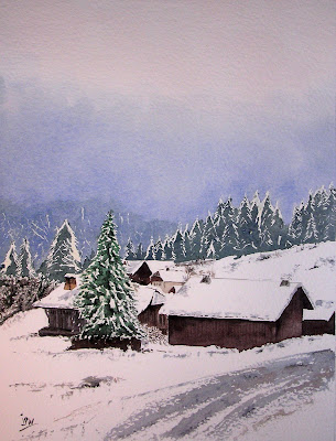 aquarelle-de-montagne watercolor painting of mountain