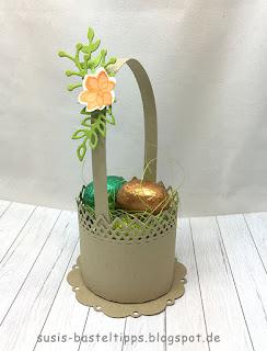 """Anleitung für ein rundes Osterkörbchen mit der Stampin' Up! Stanze Feine Spitze"""", osterkörbchen, rund, ostern, deko, diy, frühling, ostereier, küken, mitbringsel, geschenk, Tischdeko"""