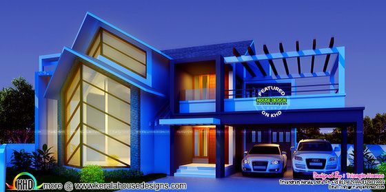 Great contemporary style sloping roof house