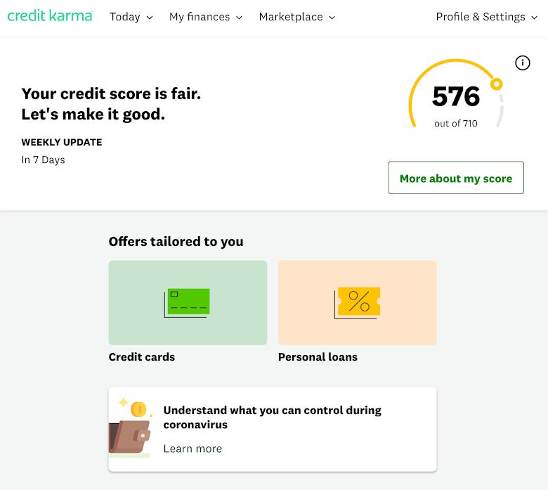 免費用戶查詢,在 Credit Karma 的信用分數