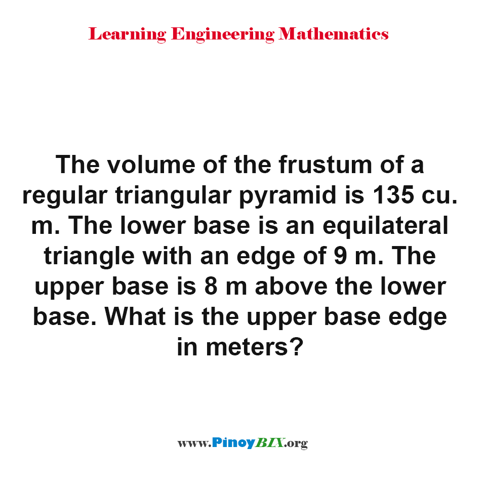 What is the upper base edge of the frustum of a regular triangular pyramid?