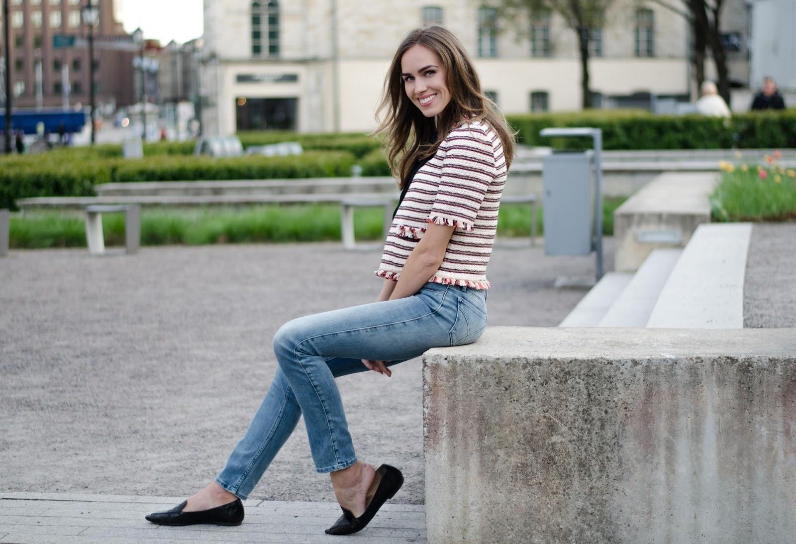 kristjaana mere striped tweed top spring outfit