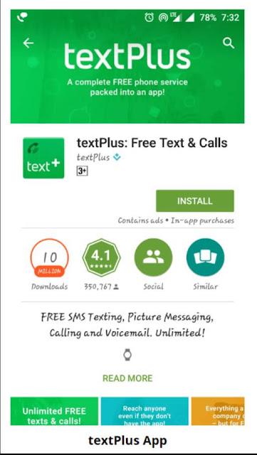 تطبيق TextPlus للحصول على رقم أمريكي على الهاتف
