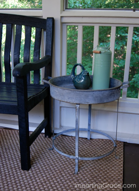 Cute galvanized table from Decor Steals is perfect for screened porch