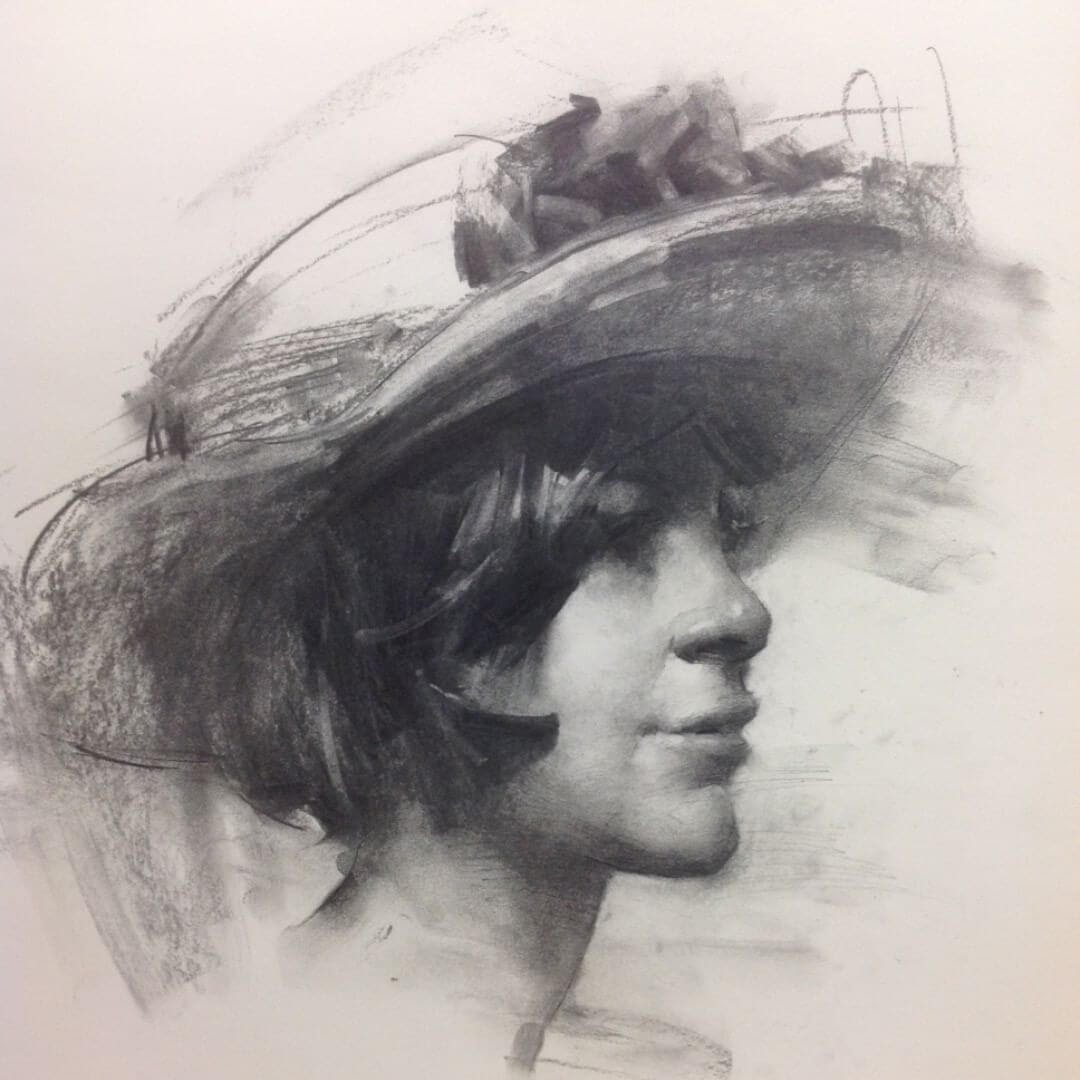 05-Dana-in-a-Victoria-s-Hat-Zhaoming-Wu-Black-and-White-Charcoal-Portraits-www-designstack-co