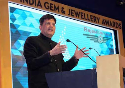 Piyush Goyal, Minister piyush goyal, Rajpal Singh Shekawat, Ramcharan Bohra, JECC Jaipur, India Gem & Jewellery Awards 2015, Jaipur Exhibition and Convention Centre, GJEPC-IGJA 2015, Urban development and housing minister Rajasthan