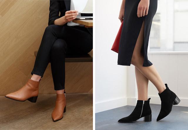 Ботинки челси с острым носом с брюками и юбкой для офиса