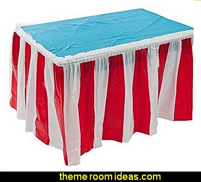 Red & White Stripped Table Skirt   Dr. Seuss party theme - Dr. Seuss Birthday Party -  Dr. Seuss Party Decor - Dr. Seuss Party Supplies -  Dr. Seuss birthday party supplies - Dr Seuss party decorations - Dr Seuss wall decals - Dr Seuss party standups