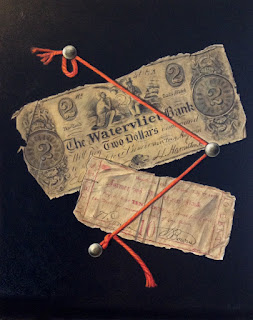 Acrylic trompe l'oeil painting of old money