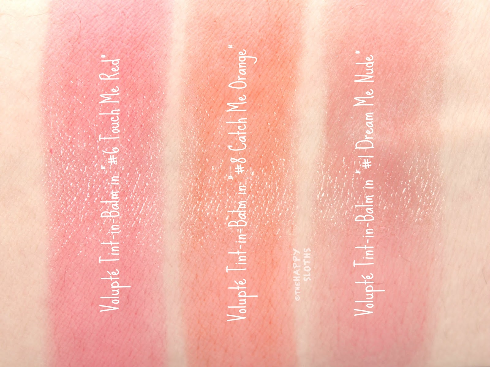 """Yves Saint Laurent Volupte Tint-in-Balm in """"1 Dream Me Nude"""", """"6 Touch Me Red"""", & """"8 Catch Me Orange"""": Review and Swatches"""