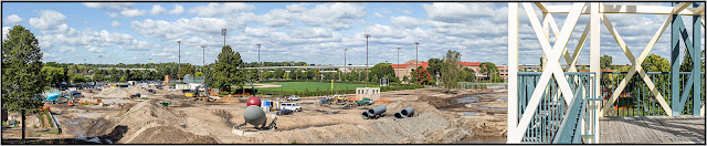 A panorama of the Minneapolis Sculpture Garden under renovation in Minneapolis.