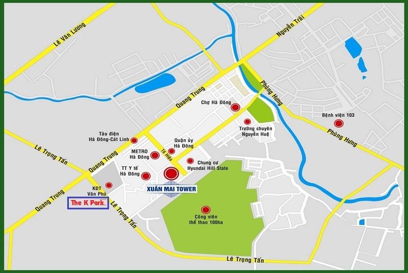 Vị trí thuận lợi giao thông của chung cư The K Park Văn Phú