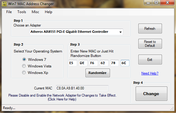 Change the MAC address of the network adapter