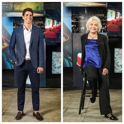 Em 'A Dona do Pedaço', Agno (Malvino Salvador) sustenta o cunhado Régis (Reynaldo Gianecchini) e a sogra Gladys (Nathalia Timberg) — Foto: TV Globo/João Miguel Jr.