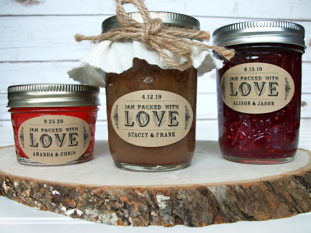 Kraft Oval Jam Packed with Love Mason Jar Labels