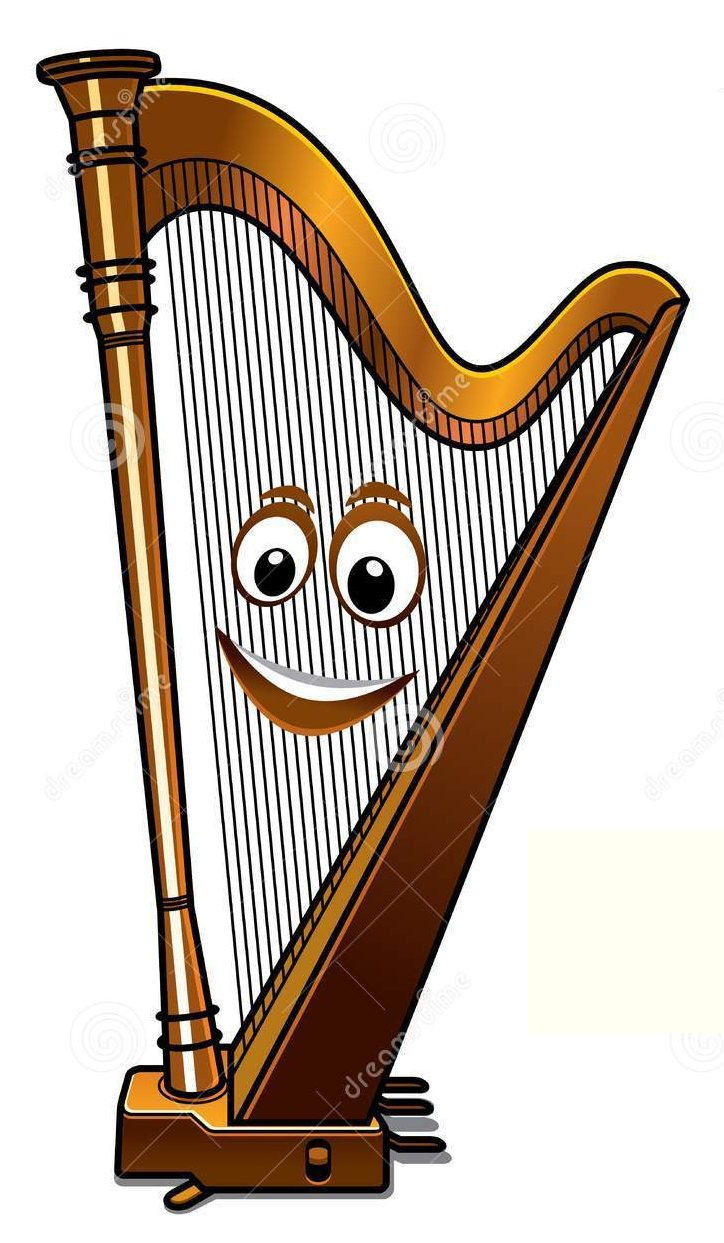 happy song played on harp