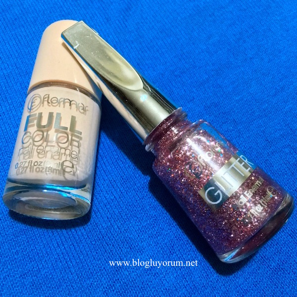 Flormar Full Color FC37 Patience  Glitter GL15 Red in Silver oje