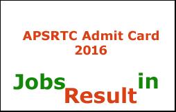 APSRTC Admit Card 2016