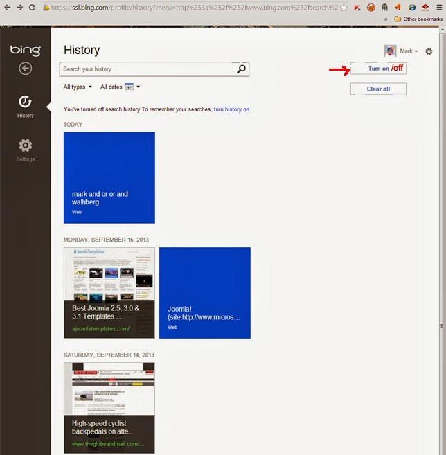 My Bing History: Metadata Consulting: Turning Off Bing Search History In