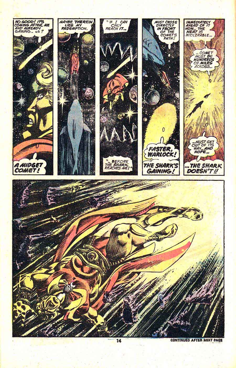 Warlock v1 #14 marvel 1970s bronze age comic book page art by Jim Starlin