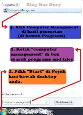 Mencari Computer Management dari Start Windows7 Blog Mas Dory