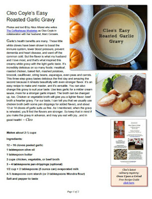 http://www.coffeehousemystery.com/userfiles/file/Roasted-Garlic-Gravy-Cleo-Coyle.pdf
