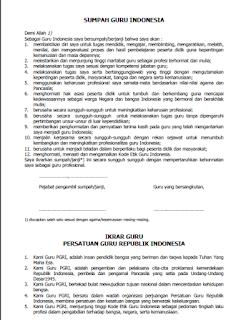 Ikrar Guru Indonesia Download Ikrar Guru Indonesia Perangkat Guru SD, SMP, SMA Kurikulum 2013