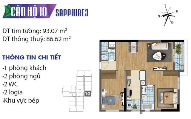 Thiết kế căn hộ số 10 tòa Sapphire 3