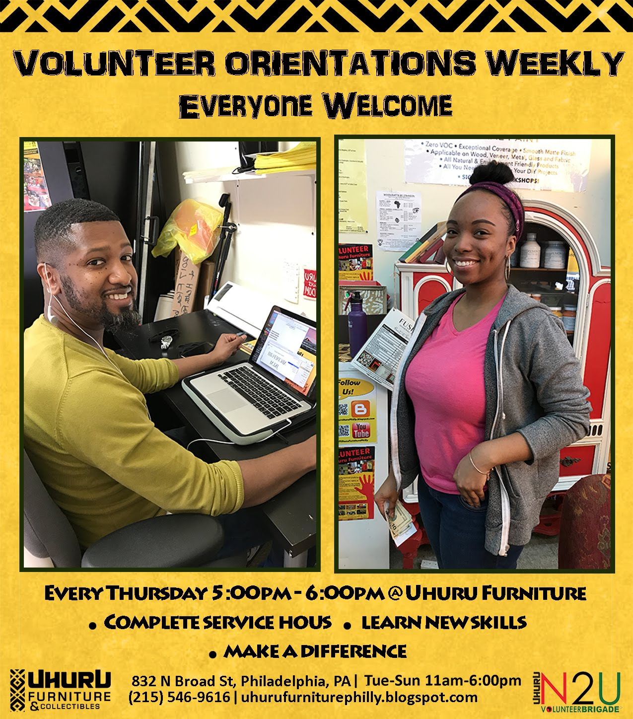 Sign-up to Volunteer or Intern Today!   <br>    Call 215-546-9616 ext3 for more info