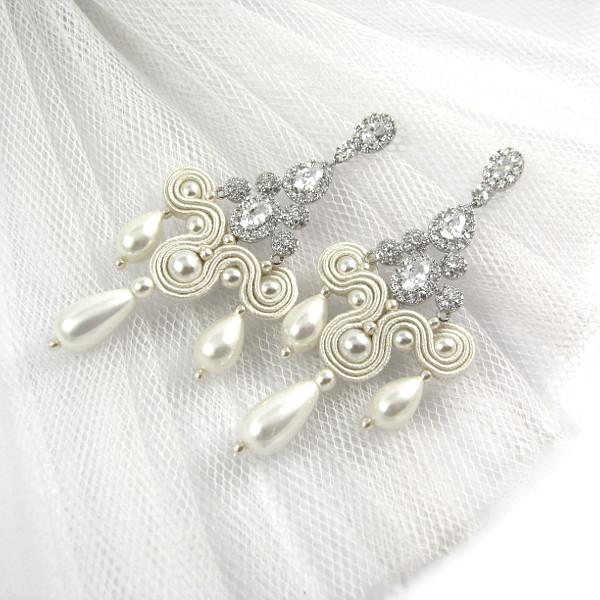 Soutache ślubny kolczyki ivory z perłami i kryształami Swarovski