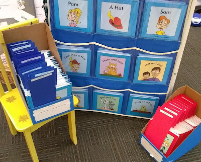 Books in hanging pocket-sleeves that face outward, titles visible. To their left, similar blue books are grouped in a cardboard organizer that has been placed on a yellow chair. Titles are separated by blue paper strips that have white labels on them. Red books, similarly organized with red dividers bearing white labeling, are in another cardboard organizer on the ground and to the right.