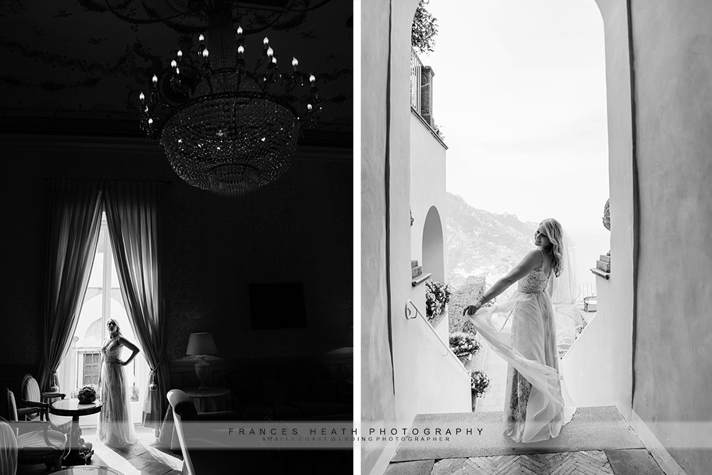 Bride in living room at hotel Caruso
