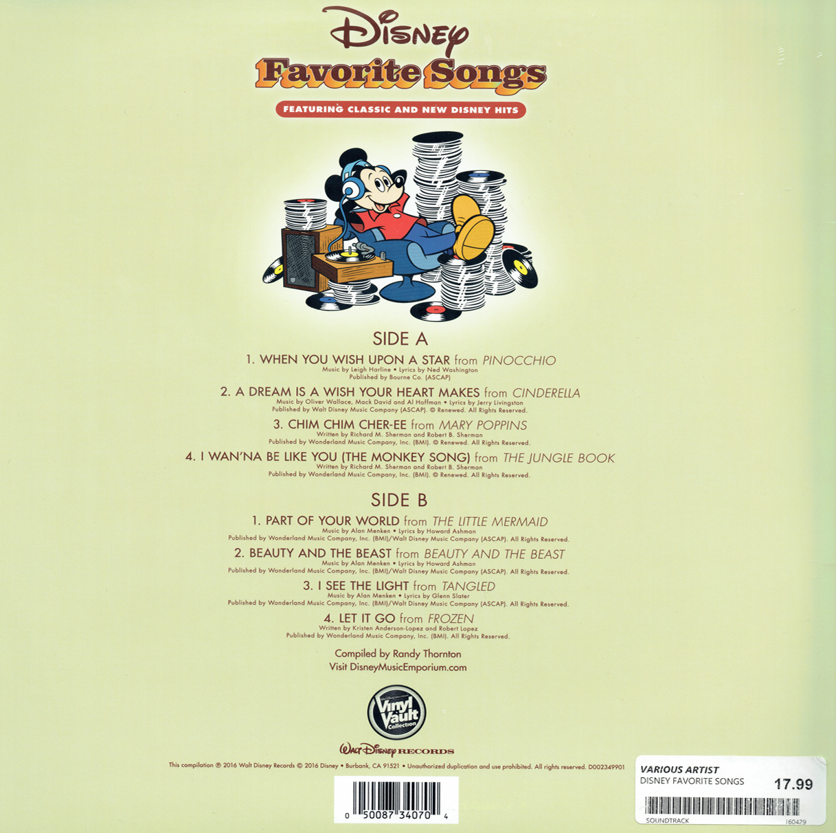 The Disneyland Records Blog Disney Favorite Songs Record Store Day