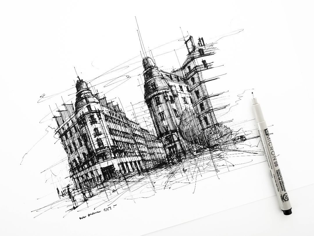 11-On-Across-Champs-Élysées-Dan-Hogman-Urban-Sketches-of-Paris-in-France-www-designstack-co