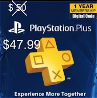 Código digital Play Station PLus 12 por apenas 47.99 dólares